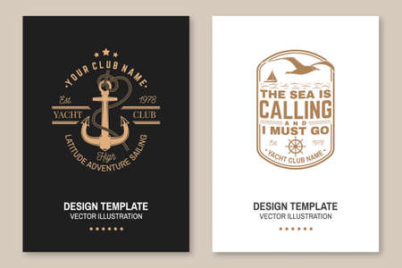 Set of summer sailing camp template. Vector illustration Flyer, brochure, banner, poster design with man in sailboats and sea anchors silhouette. Ocean adventure sporting activity