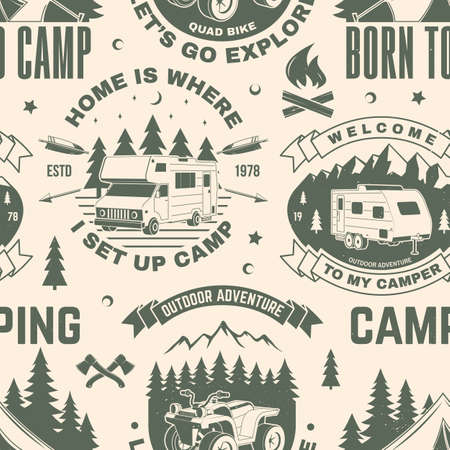 Summer camp seamless pattern or background. Vector Seamless scene with quad bike, tent, mountain, camper trailer and forest silhouette. Outdoor adventure background for wallpaper or wrapper.