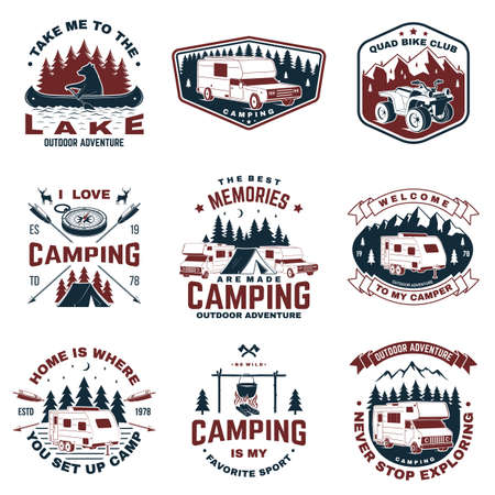 Set of camping badges. Vector. Concept for shirt  print, stamp or tee. Vintage typography design with quad bike, tent, mountain, camper trailer and forest silhouette.