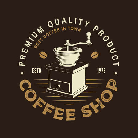 Coffee shop badge template. Vector . Typography design with coffee grinder silhouette. Template for menu for restaurant, cafe, bar, packaging