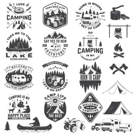 Set of camping badges with design element. Vector. Concept for shirt or print, stamp or tee.