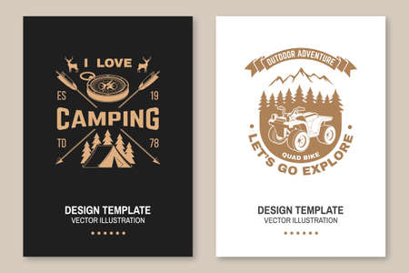 Set of camping template. Vector. Flyer, brochure, banner, poster design with quad bike, tent, mountain, camper trailer and forest silhouette.