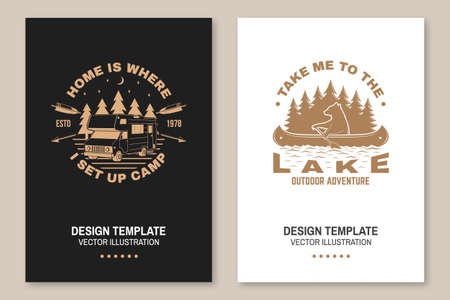 Set of camping template. Vector illustration Concept for shirt or print, stamp or tee. Vintage typography design with quad bike, bear in canoe, camper trailer and forest silhouette. Ilustrace
