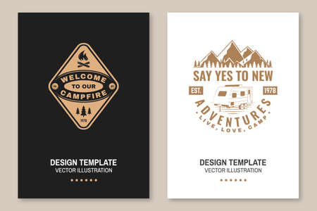 Set of camping template. Vector. Flyer, brochure, banner, poster design with campfire, mountain, camper trailer and forest silhouette.