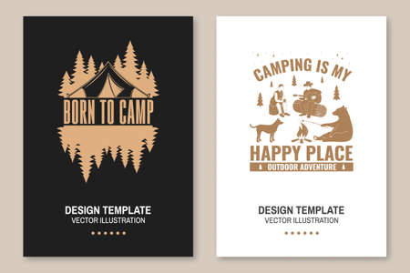 Set of camping template. Vector. Flyer, brochure, banner, poster design with campfire, bear, dog, girl, man with guitar and forest silhouette.