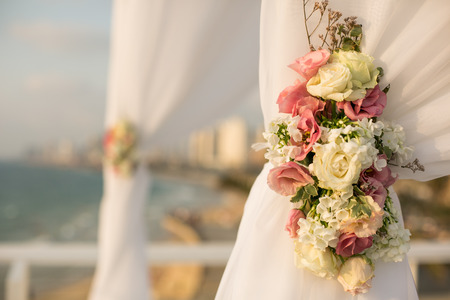 jewish background: Jewish wedding chuppah in Israel Stock Photo
