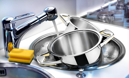 porous: Washing kitchen ware on the sink