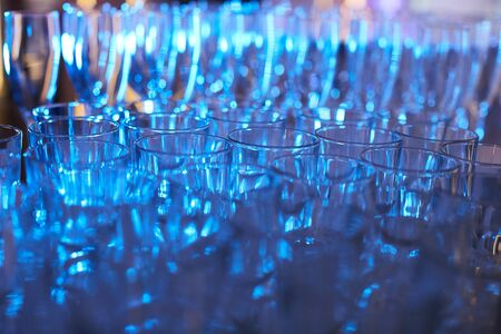 alcoholic drinks: Set of glasses for alcoholic drinks on table Stock Photo