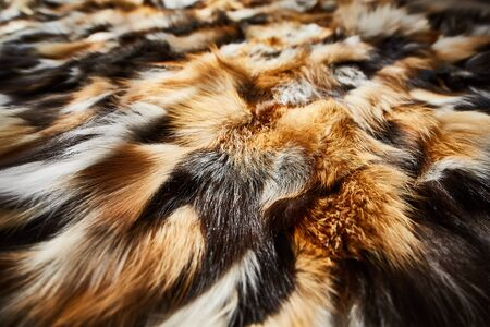 Bed cover made of natural fur Stock Photo