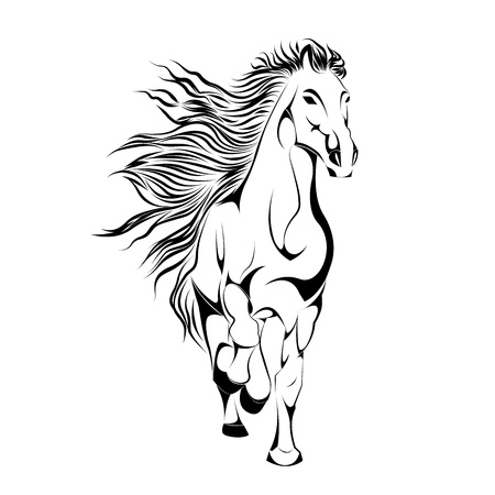 Silhouette of Horse in Vector illustration Vector