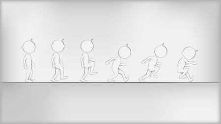 runing: Abstract Humans in Movement. Vector illustration