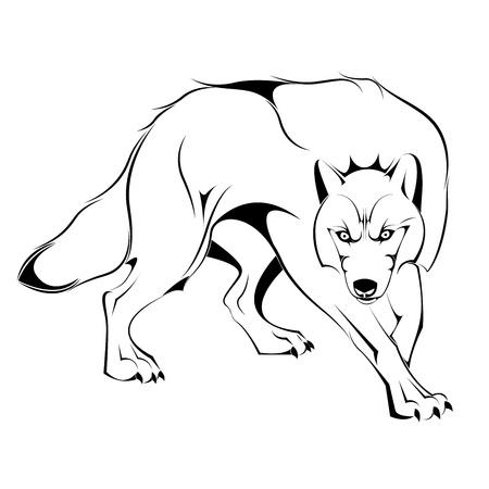 wallpapper: Silhouette di Wolf in Illustrazione Vettoriali