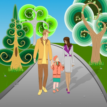 douther: Happy Family walking in Park. Vector Illustration Illustration
