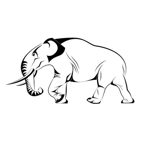 wallpapper: Silhouette of Elephant in Vector illustration
