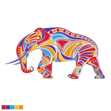wallpapper: Silhouette di elefante in vettoriale con illustrazione di ornamento