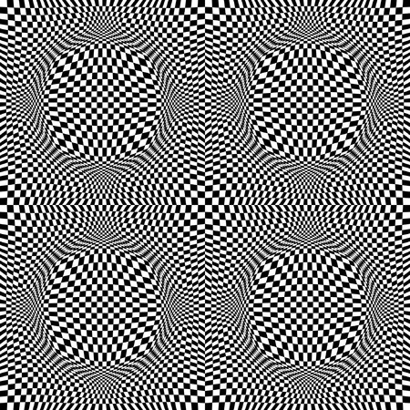 Seamless pattern with optical illusion of 3D blach-white chess-board