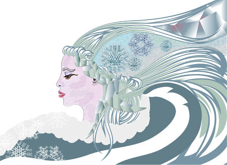 icicle: Queen of winter with snowlakes and icicle Illustration