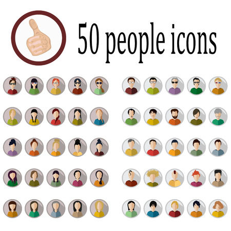 nationalities: 50 people icons of various nationalities in different styles
