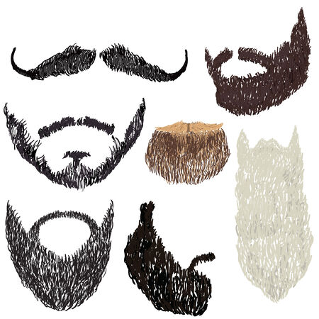 facial painting: vector illustration beard with mustache in various forms