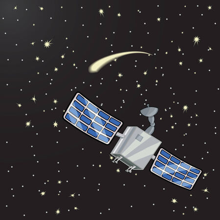 solar collector: Vector illustration of satellite in space among the stars