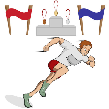 obstacle course: Vector illustration athlete runner in the competition with the finish line , a podium and medals Illustration
