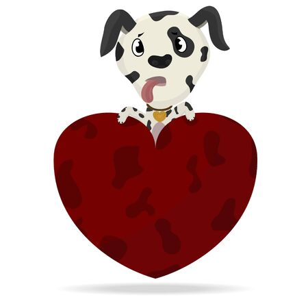 dalmation: Vector illustration of a cute dalmation puppy dog with heart