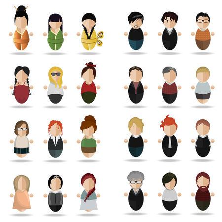 four people: vector illustration of a set of twenty- four people , twelve women and twelve men