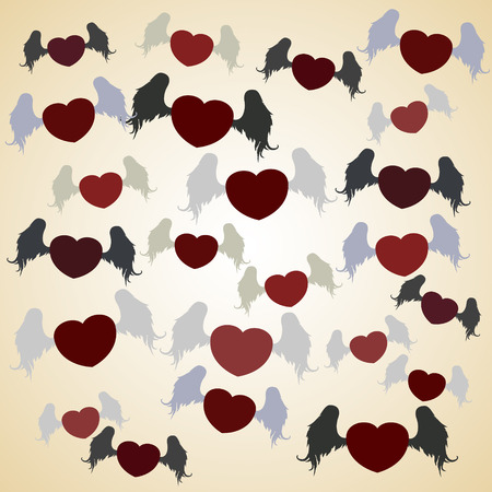 Vector illustration of flying hearts with wings Vector