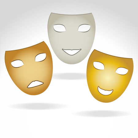 theather: illustration in three masks expressing a smile , sadness and joy Illustration
