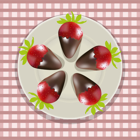 dipped: Vector illustration , chocolate covered strawberries on a plate