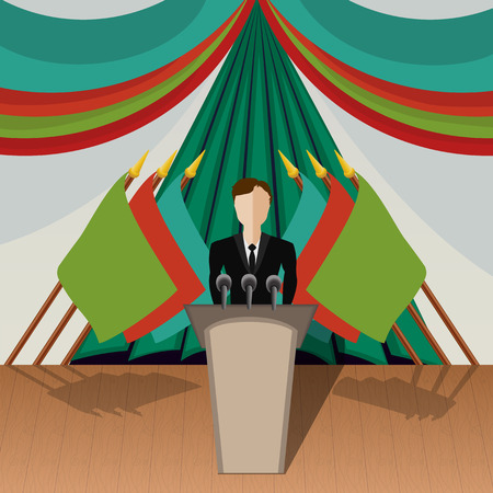 the chairman: Vector illustration , Chairman (politician) gives an interview