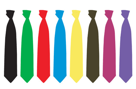 medium group of people: Vector illustration of eight colored tie