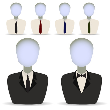 Vector illustration in the form of six manikenov in suits Illustration