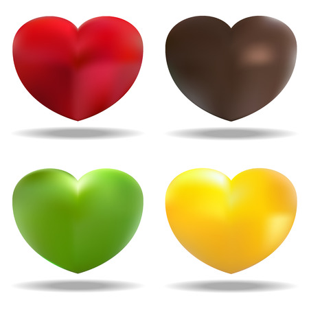 Vector illustration of four hearts (red, green , brown, yellow )