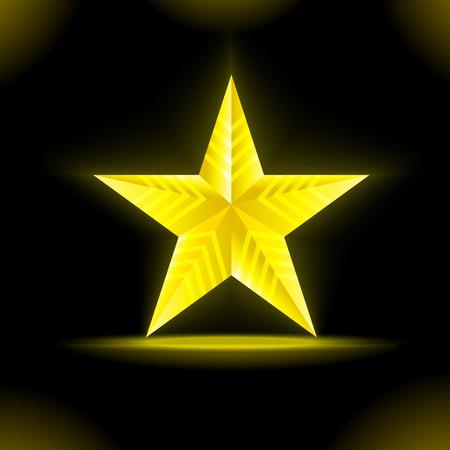 gold stars: Vector illustration yellow neon stars