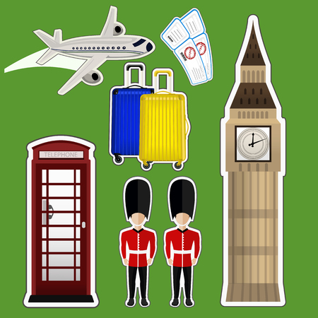 telephone box: vector illustration sticker Big Ben , telephone box , luggage , tickets , plane Illustration