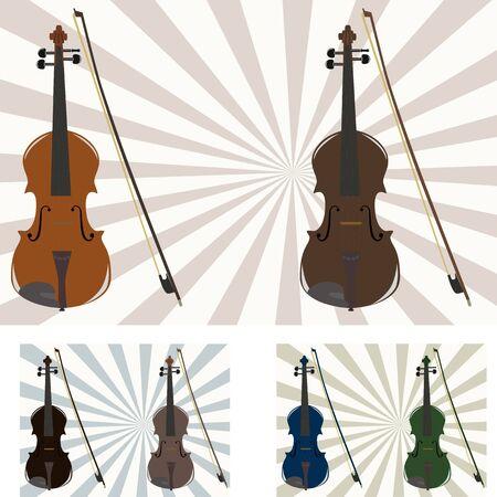 violins: vector illustration of six violins in different colors
