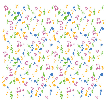 vector illustration of music notes with key on white background