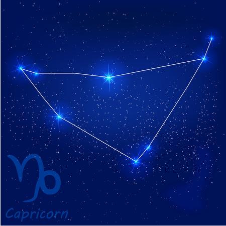 orion: vector illustration of constellationcapricorn on a blue background Illustration