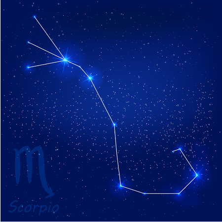 orion: vector illustration of constellationscorpio on a blue background Illustration