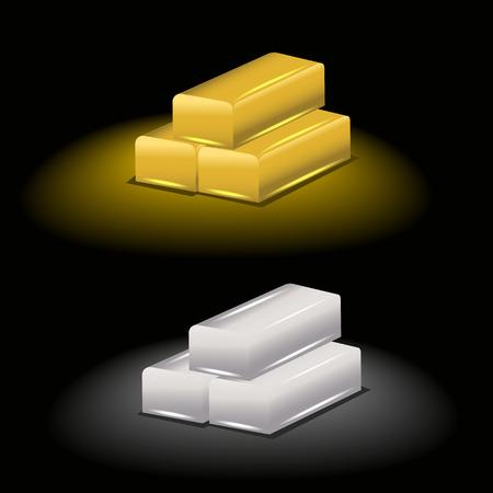 silver ingots: vector illustration ingots of gold and silver Illustration