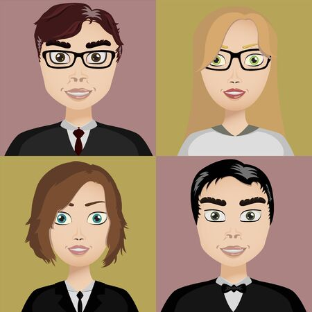 boy long hair: vector illustration of a beautiful four different persons Illustration