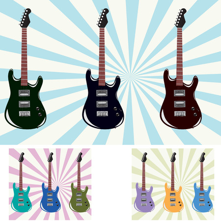 vector illustration of a beautiful electronic guitars with different backgrounds