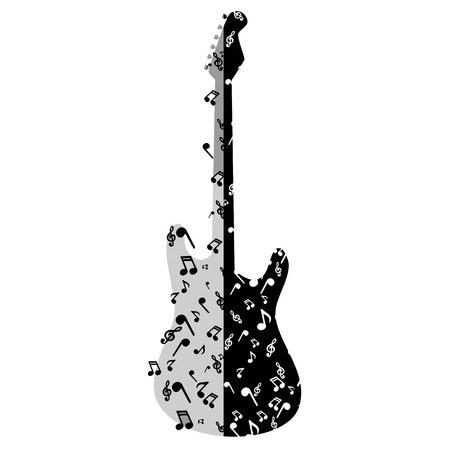 vector illustration of a beautiful electronic guitar with notes Ilustração