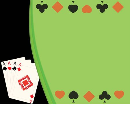 vector illustration background of four cards and card suits 向量圖像