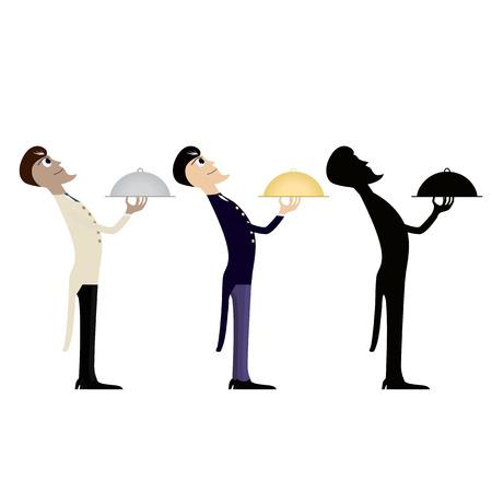 vector illustration of three waiters 向量圖像