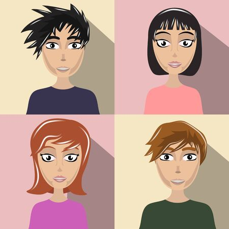vector illustration of a beautiful four different persons Ilustração