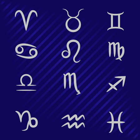 vector illustration of zodiac signs on a blue background 向量圖像