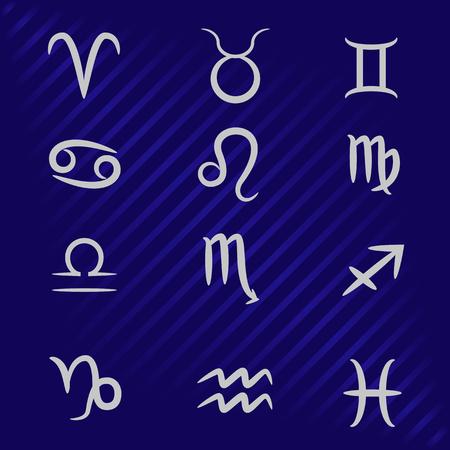 vector illustration of zodiac signs on a blue background Ilustração