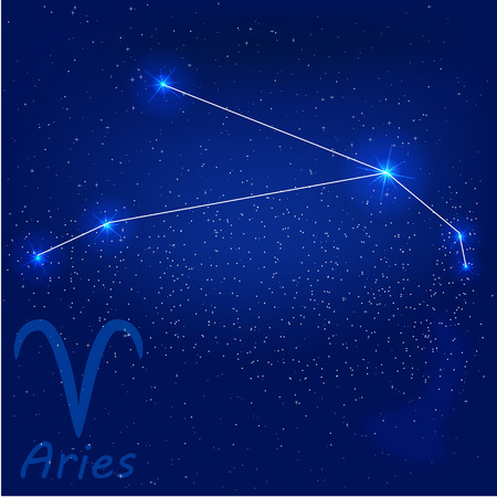vector illustration of constellation aries on a blue background 向量圖像